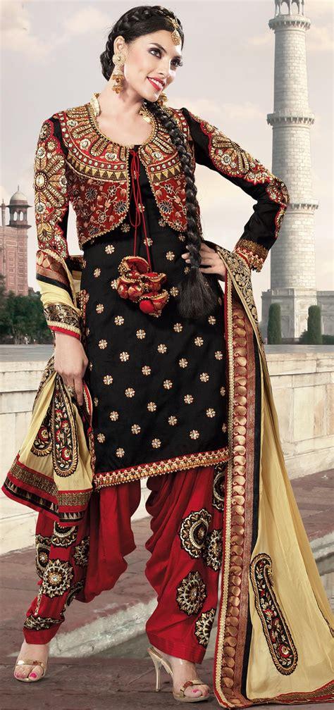 buy assam silk salwar kameez online designer punjabi suit designer black georgette semi patiala punjabi suit