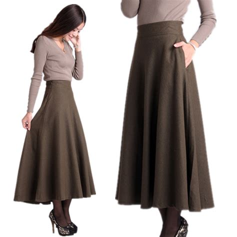 pattern for a line long skirt new 2013 wool black solid color fashion women maxi brand