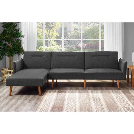 futon sectional dhp brent upholstered sectional futon couch multiple