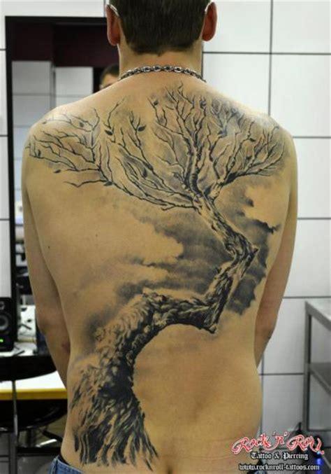 tree tattoo on back back tree by rock n roll