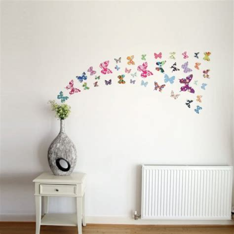 Baby Pink Bedroom - decowall dw 1201 38 colourful butterflies wall stickers wall decals