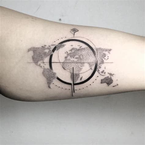 banger tattoo inner bicep compass world map same same different banger