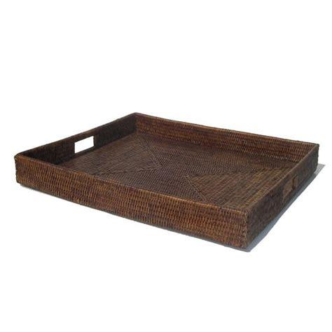 Large Square Ottoman Tray Rattan Trays Storage Basket Placemat Satara