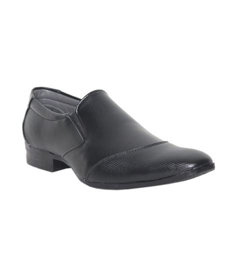 leeport black slip on formal shoes for price in india