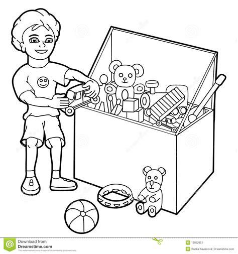 Coloring Box By Dimen Shop menino que joga brinquedos ilustra 231 227 o do vetor