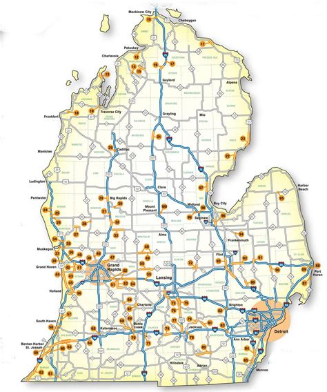 large map of michigan map of michigan highways michigan map