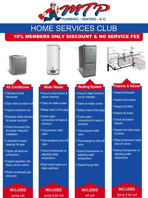 home services warranty club mtp plumbing heating a c