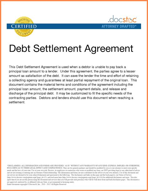 Sle Letter Of Agreement For Debt Settlement 4 Irs Debt Settlement Marital Settlements Information