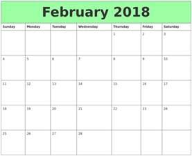 Calendar February 2018 February 2018 Printable Calendars
