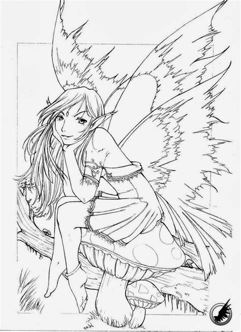 wood fairy coloring page coloring for adults kleuren voor volwassenen to print