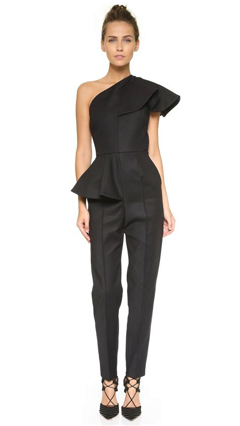 One Shoulder Black Jumpsuit msgm ruffle one shoulder jumpsuit black in black lyst