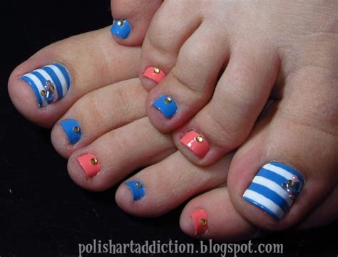 easy nail art blue and white 44 easy and cute toenail designs for summer page 5 of 5