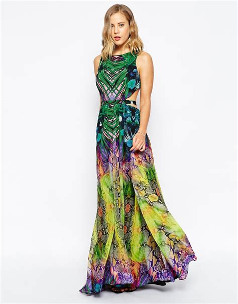Tropical Dress forever unique tropical mirror print maxi dress with open