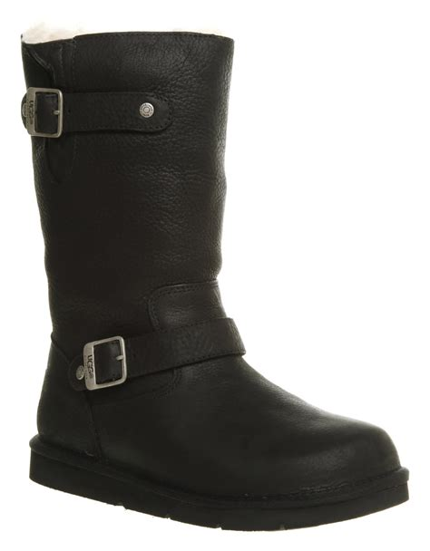 black leather ugg boots womens ugg australia kensington biker boot black leather