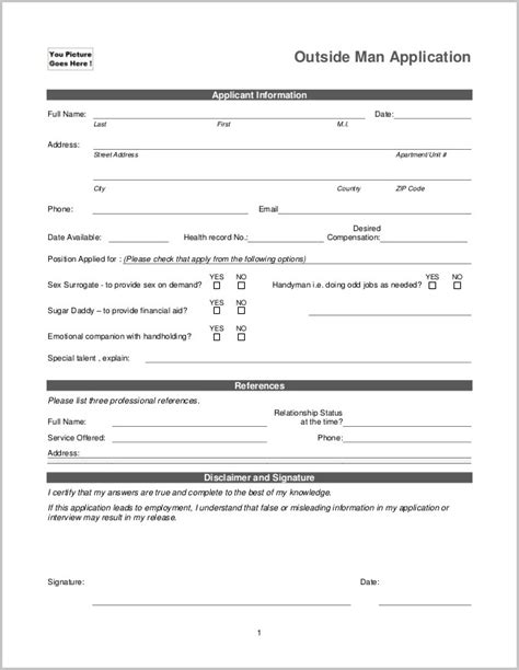 child care employment application template images