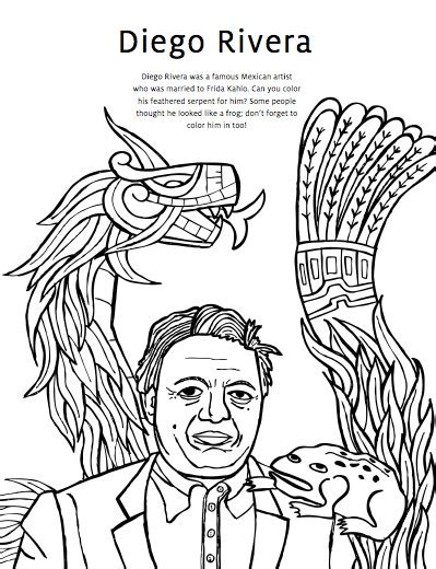 coloring pages diego rivera diego rivera coloring pages frida kahlo coloring pages