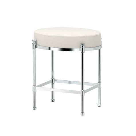 Vanity Stool Chrome by Gatco Oval 19 5 In Vanity Stool In Chrome 1358 The Home