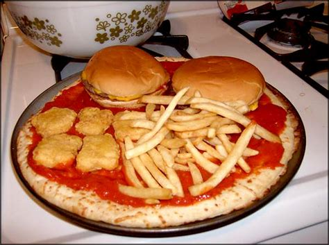 pizza with burgers fries and mcnuggets so