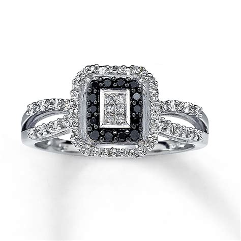 black ring princess cut 10k white gold