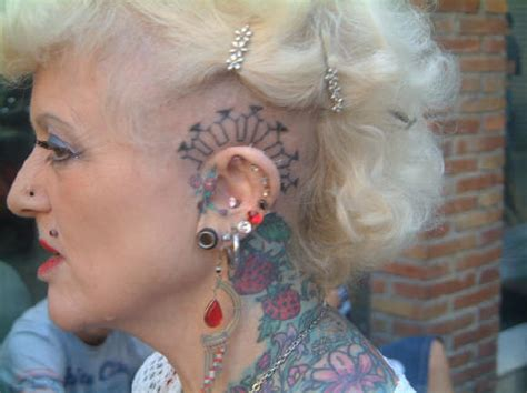 tattooed old lady disgusting tattooed
