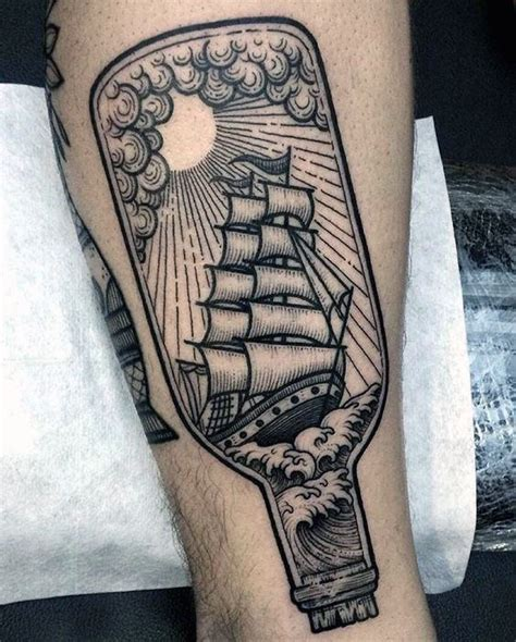 60 ship in a bottle tattoo designs for men maritime art