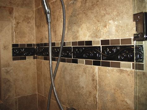 tile borders bathrooms ideas shower tile border mediterranean bathroom cleveland