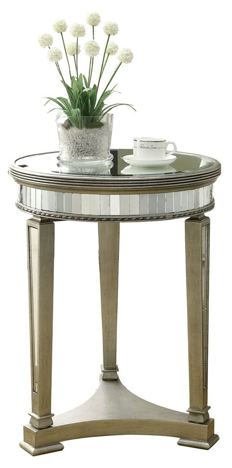 silver accent tables 3705 brushed silver mirrored accent table i 3705 monarch