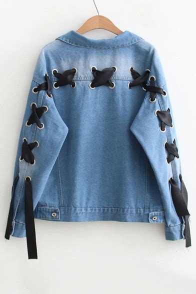 Lace Up Sleeve Denim Jacket new stylish grommet lace up back lapel collar sleeve