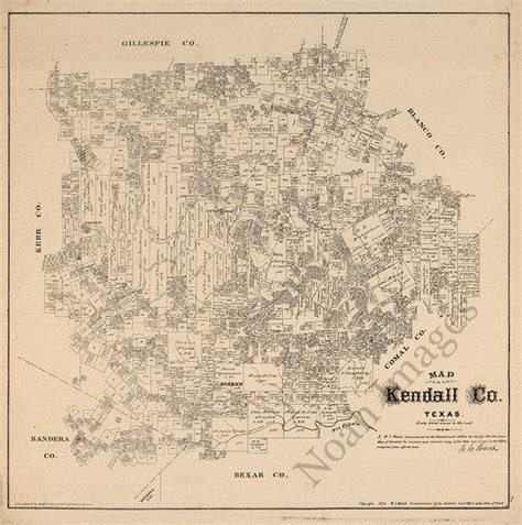kendall county texas map map of kendall county tx c1879 repro 20x20 ebay