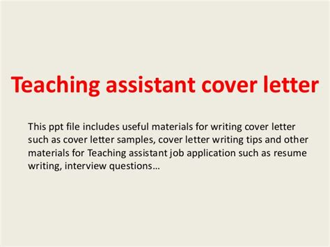 Support Letter For Teaching Assistant Teaching Assistant Cover Letter