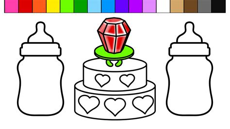 coloring page baby bottle learn colors for kids and color this ring pop heart