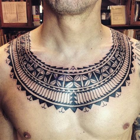 tribal collar tattoo tribal design on s chest quot necklace quot tribal