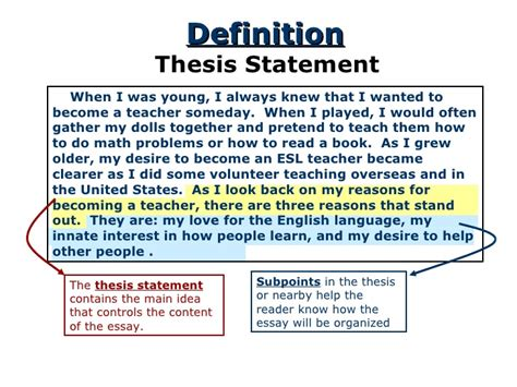 where is the thesis statement typically found in an essay thesis statement