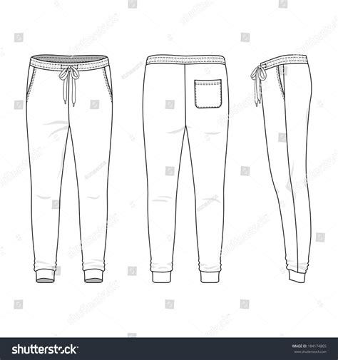 outline black white pants vector illustration isolated on blank mens sweatpants front back side stock vector