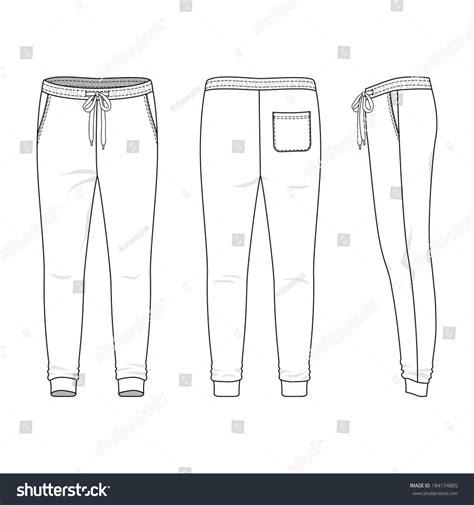Blank Mens Sweatpants Front Back Side Stock Vector 184174865 Shutterstock Sweatpants Template Vector