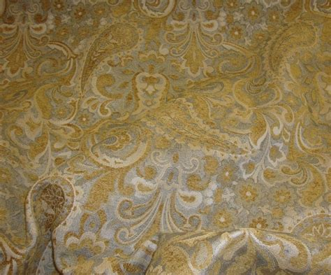 Fabric By The Yard Upholstery by Gold Paisley With Floral Chenille Upholstery Drapery