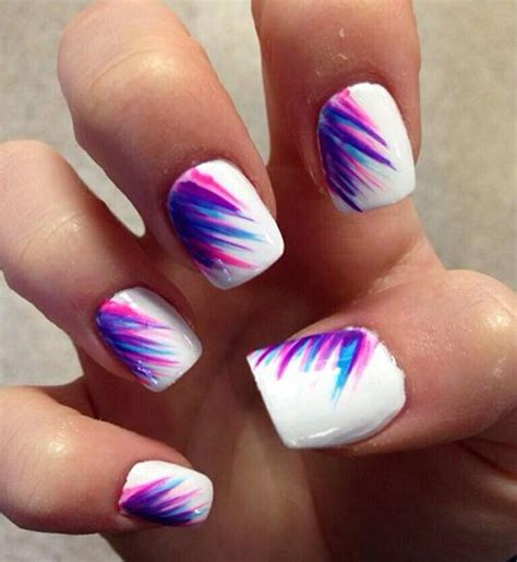 easy nail art pink and blue pink purple blue nails summer cute things