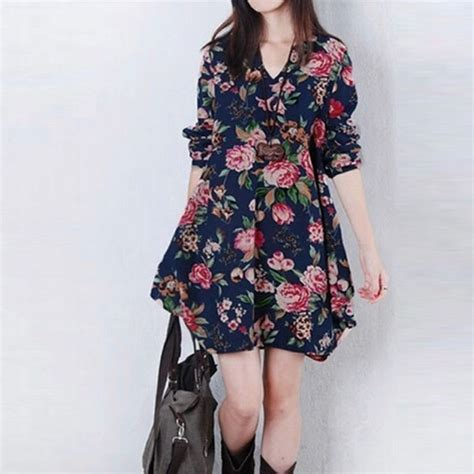 Enfocus Blue Flowers Vneck Dress Original v neck sleeve floral evening cocktail