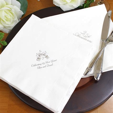 Wedding Anniversary Dinner Ideas by Custom Printed 25th Wedding Anniversary Dinner Napkins