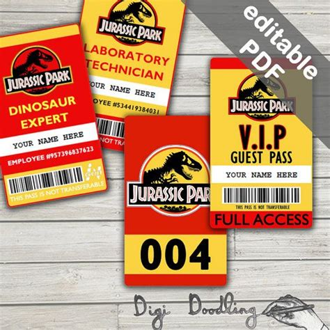visitor pass template jurassic park employee badge template two colors