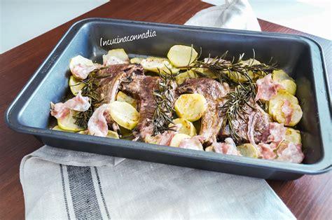 come cucinare costolette di agnello costolette di agnello con patate e pancetta al forno
