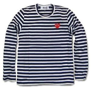 Cdg Square Shirt Navy navy blue unisex new comme des garcons cdg play white striped t shirt ebay