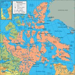 nunavut map satellite image roads lakes rivers cities
