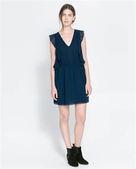 Dress Zara V zara v neck ruffle dress in blue navy blue lyst