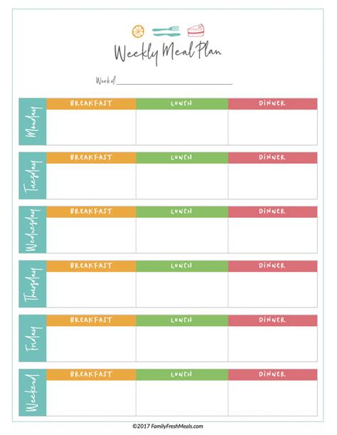 meal plan printables family fresh meals