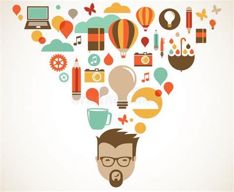 concept design vs illustration design creative idea and innovation concept stock vector