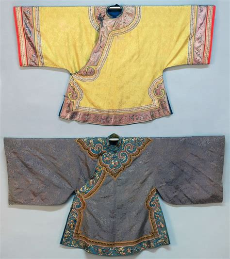 Dijamin Jacket Qing Blue silk tunics one periwinkle with appliqued and embroidered blue satin qing dynasty