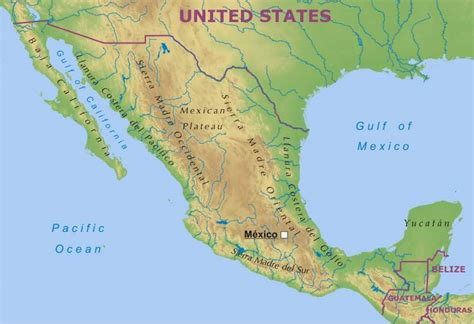 physical map mexico mexico physical map
