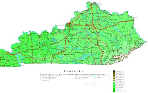 kentucky highway map with counties kentucky contour map