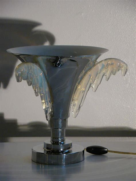 deco chrome and glass table top torchiere for